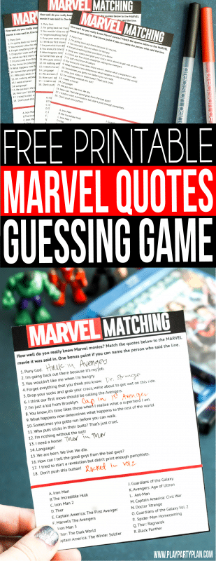 Marvel Movie Quotes Matching Game