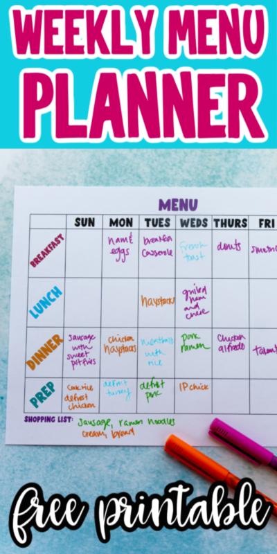 Bezpłatny planer posiłków do druku i wskazówki dotyczące planowania menu