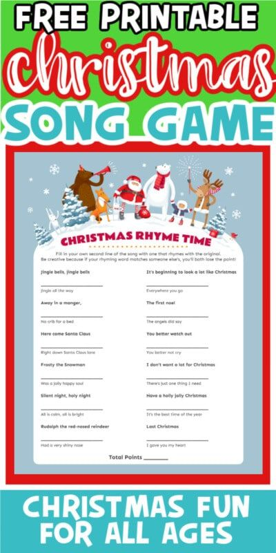 Christmas Rhyme Time Game