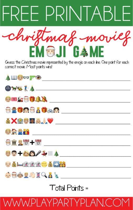 Juego de Emoji de Navidad para imprimir gratis