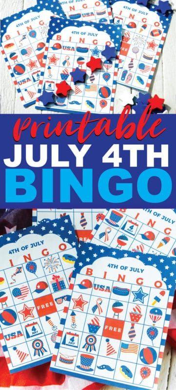 Bingo del 4 de julio para imprimir gratis