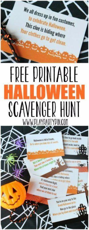 Gratis afdrukbare Halloween Scavenger Hunt