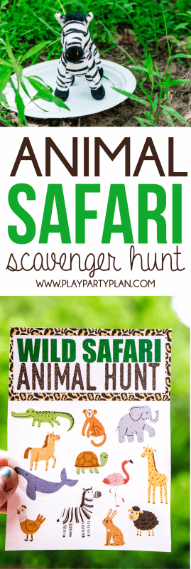 Gratis afdrukbare Animal Safari Scavenger Hunt