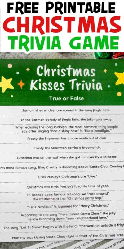 Christmas Kisses Christmas Trivia Game
