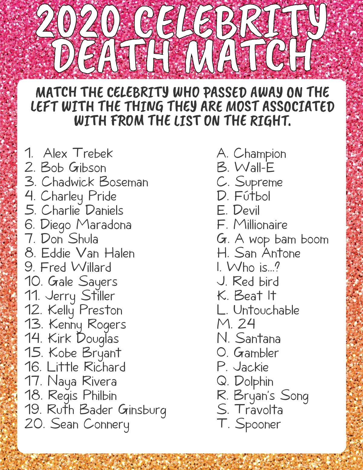 Celebrity death match game