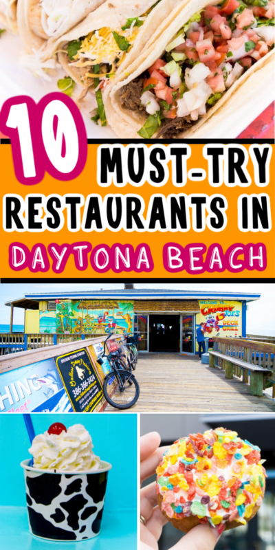 Collage de comida de los restaurantes de Daytona Beach para Pinterest